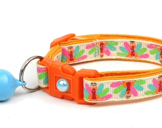 Thanksgiving Cat Collar - Colorful Turkeys on Cream- Small Cat / Kitten Size or Large Size