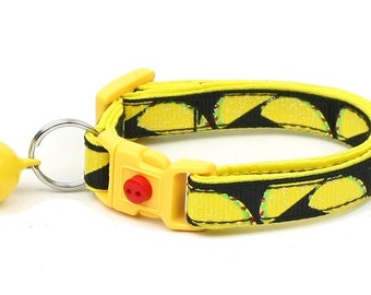Taco Cat Collar - Tacos on Black - Small Cat / Kitten Size or Large Size D28