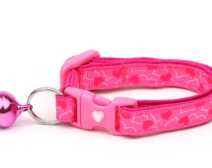Valentines Day Cat Collar - Pink Hearts on Bright Pink - Kitten or Large Size B118D92