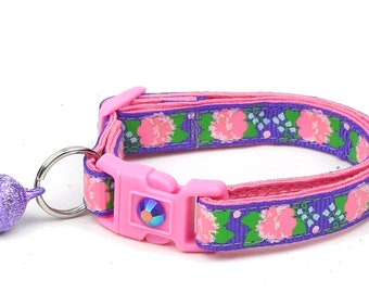 Flower Cat Collar - Pink Carnations on Purple - Small Cat / Kitten Size or Large Size D54
