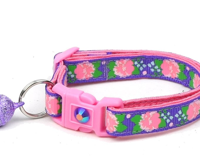 Flower Cat Collar - Pink Carnations on Purple - Small Cat / Kitten Size or Large Size B68D54