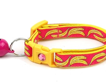 Fruit Cat Collar - Bananas on Pink - Safety Breakaway - Small Cat / Kitten Size or Large Size B88D22