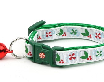 Winter Cat Collar - Peppermints and Holly - Small Cat / Kitten Size or Large(standard) Size Collar