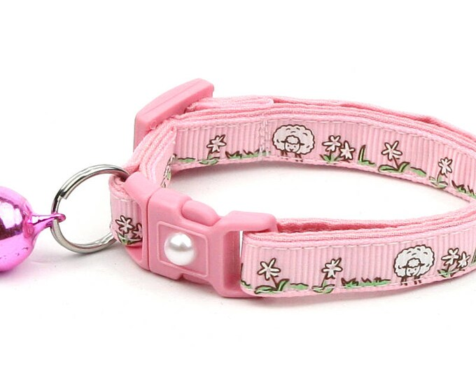 Sheep Cat Collar - Cute Sheep on Pink - Kitten or Large Size