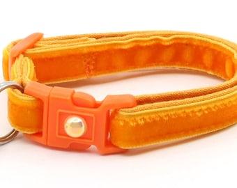 Soft Velvet Cat Collar - Bright Orange - Kitten or Large Size - Breakaway B122D146