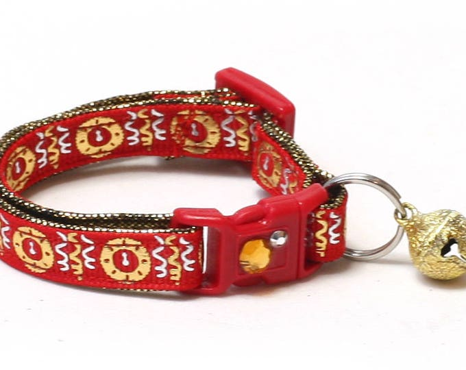 New Years Cat Collar - Clock Strikes Midnight on Red - Small Cat / Kitten Size or Large Size