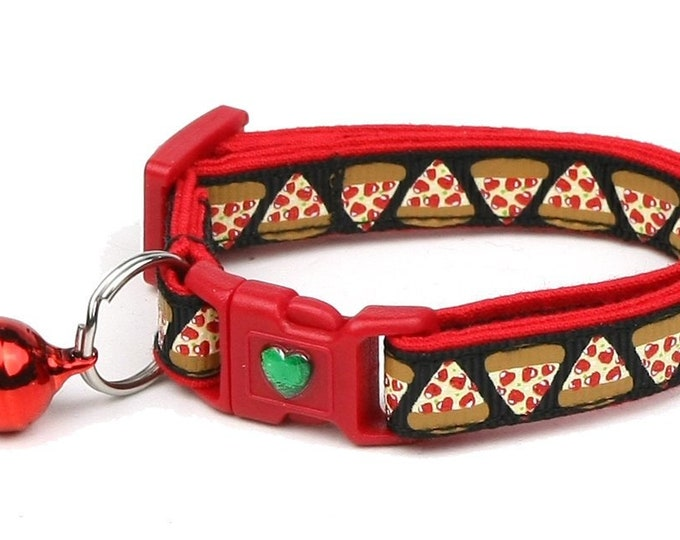Pizza Cat Collar - Pizza Slices on Black - Safety Breakaway - Small Cat / Kitten Size or Large Size