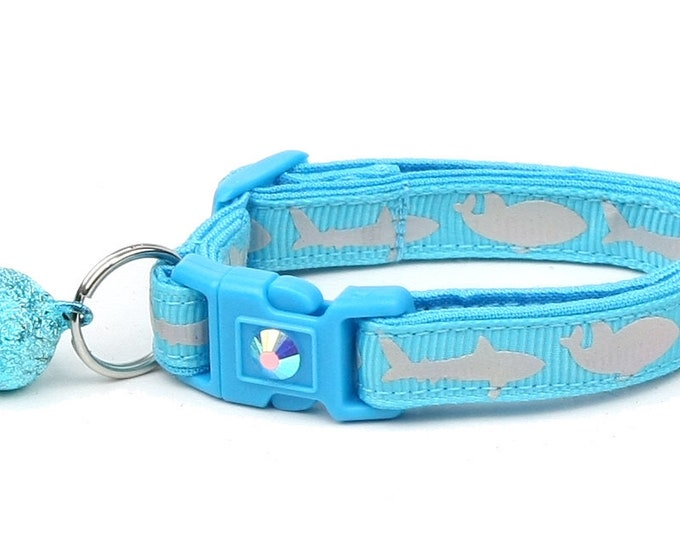 Shark Cat Collar - Silver Sharks on Tropical Blue - Kitten or Large Size - Nautical B61D161