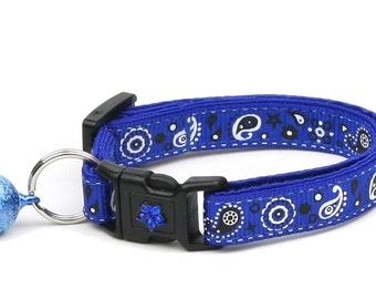 Bandana Cat Collar - Dark Blue Bandana Paisley - Safety Breakaway - Cowboy - Western