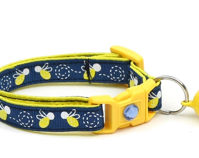 Firefly Cat Collar - Fire Flies on Navy - Small Cat / Kitten Size or Large Size
