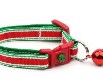 Christmas Cat Collar -  Christmas Stripes - Kitten or Large Size