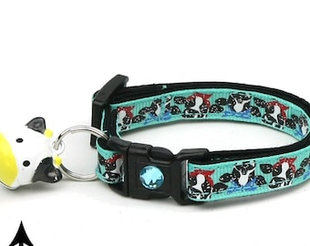 Farm Cat Collar - Cows on Teal - Safety Breakaway - Small Cat / Kitten Size or Large Size B62D168