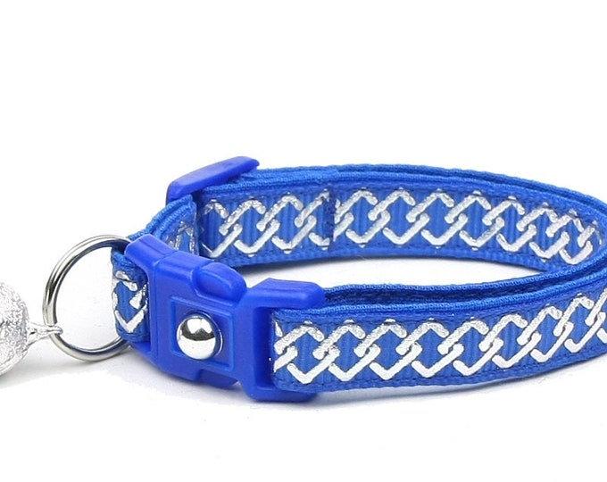Celtic Knot Cat Collar - Silver Knots on Blue - Small Cat / Kitten or Large Cat Collar