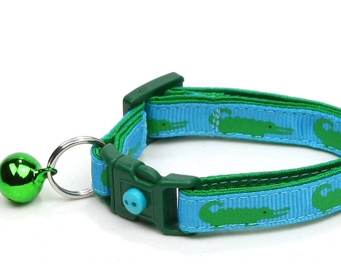 Alligator Cat Collar - Alligators on Tropical Blue - Small Cat / Kitten Size or Large Size