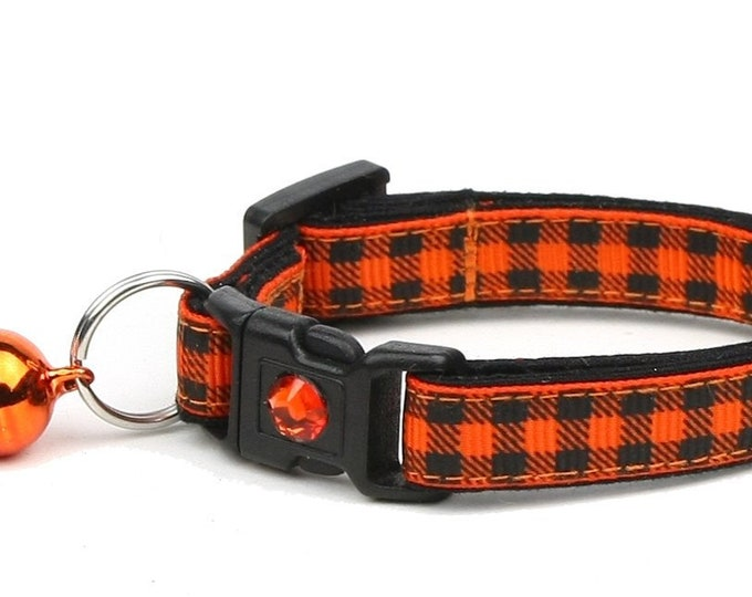 Plaid Cat Collar - Buffalo Plaid on Orange - Small Cat / Kitten Size or Large Size
