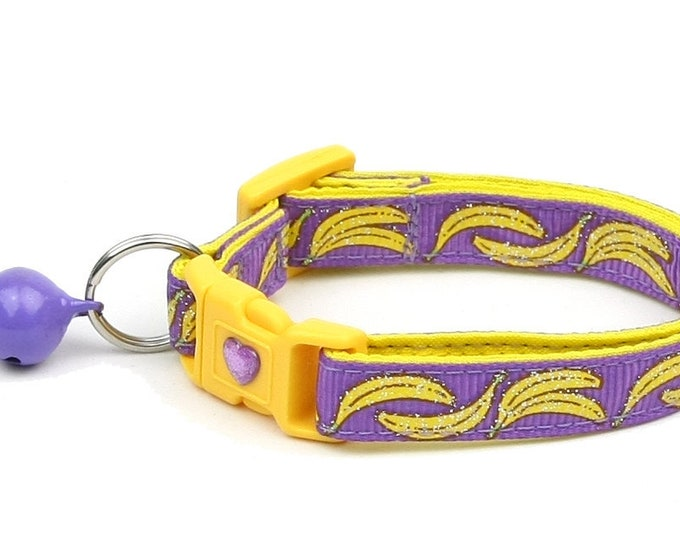 Fruit Cat Collar - Bananas on Purple  - Small Cat / Kitten Size or Large Size