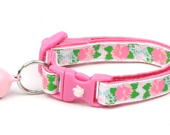 Flower Cat Collar - Pink Carnations on White - Small Cat / Kitten Size or Large Size B99D54