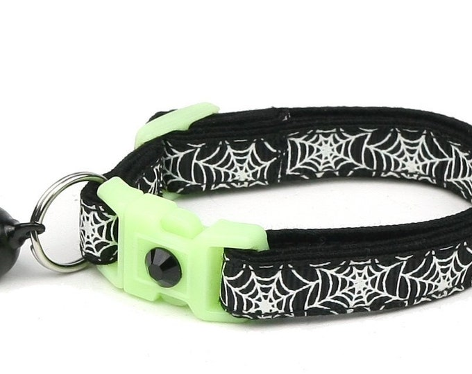 Spider Cat Collar - Glowing Spiderwebs on Black - Small Cat / Kitten or Large Cat Collar - Glow in the Dark B106