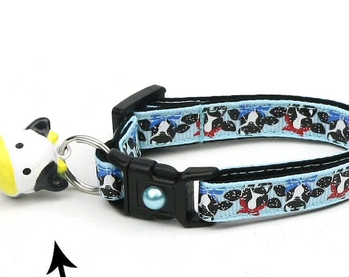 Farm Cat Collar - Cows on Blue - Small Cat / Kitten Size or Large Size