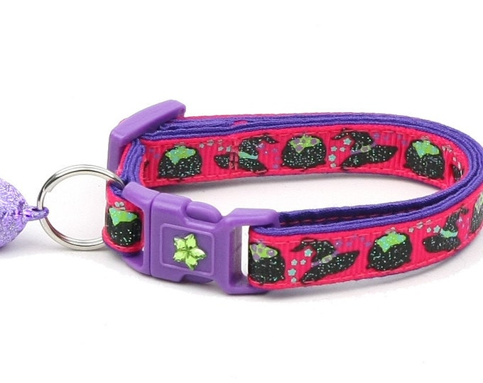 Halloween Cat Collar -Witches Brew on Pink and Purple - Kitten or Large Size - Halloween Cat Collar