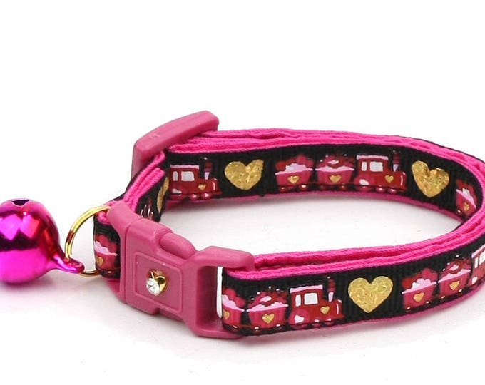 Valentines Day Cat Collar - Train of Love - Hearts - Kitten or Large Size