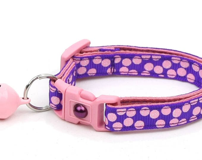 Polka Dot Cat Collar - Light Pink Dots on Purple - Breakaway Cat Collar - Kitten or Large size
