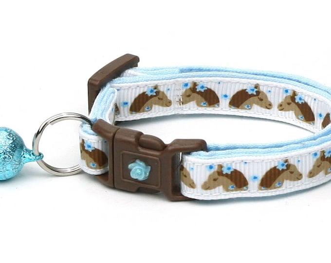 Horse Cat Collar -Brown Horses & Blue Flowers - Kitten or Large Size - Breakaway Cat Collar