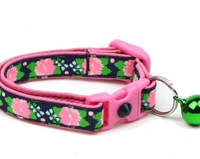 Flower Cat Collar - Pink Carnations on Navy - Small Cat / Kitten Size or Large Size B56D54