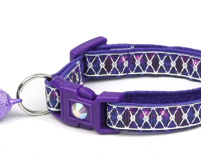Purple Cat Collar - Diamond Mesh over Amethyst Geode - Small Cat / Kitten or Large Cat Collar