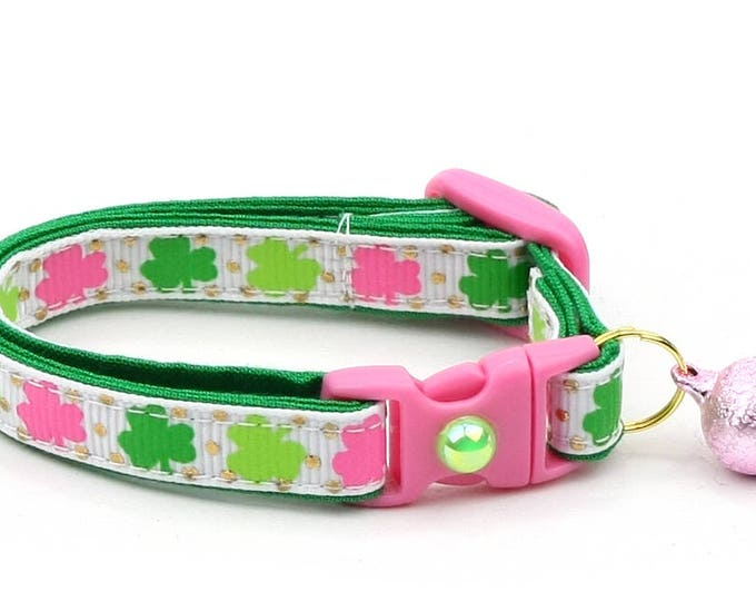 St. Patrick's Day Cat Collar - Pink and Green Shamrocks - Small Cat / Kitten or Large Cat Collar