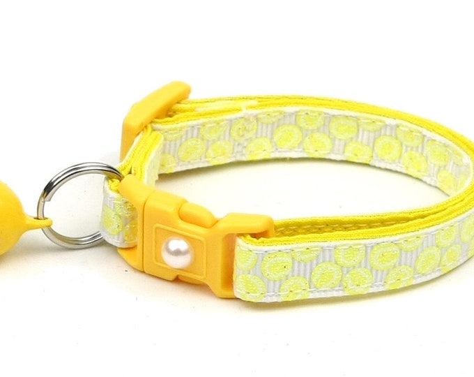 Tennis Cat Collar - Tennis Balls on White - Small Cat / Kitten Size or Large Size B45D117
