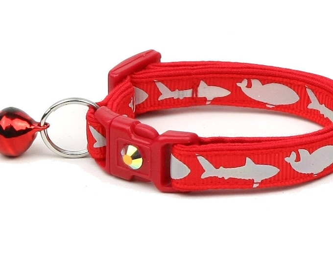 Shark Cat Collar - Silver Sharks on Red - Kitten or Large Size - Nautical