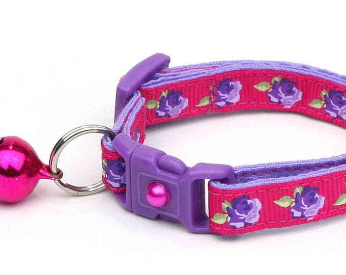 Floral Cat Collar - Purple Tea Party Roses on Pink - Small Cat / Kitten Size or Large Size