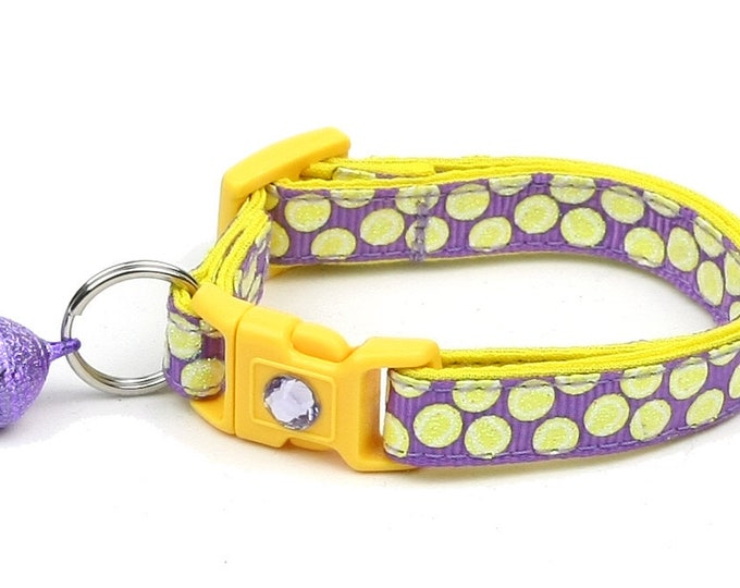 Tennis Cat Collar - Tennis Balls on Purple - Small Cat / Kitten Size or Large Size B31D117