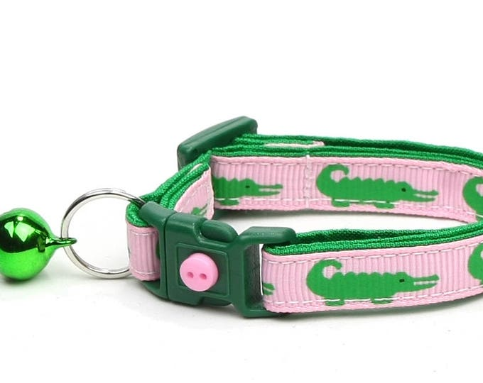 Alligator Cat Collar - Alligators on Pink - Small Cat / Kitten Size or Large Size
