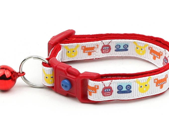 Robot Cat Collar - Colorful  Robots - Small Cat / Kitten Size or Large Size