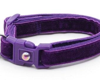 Soft Velvet Cat Collar - Dark Purple Violet - Kitten or Large Size - Breakaway B124D176