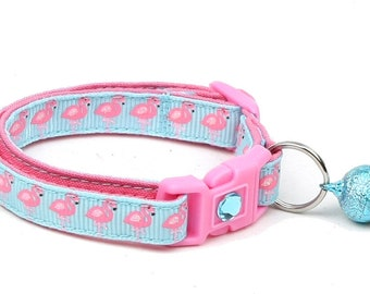 Tropical Cat Collar - Pink Flamingos on Blue - Kitten or Large Size