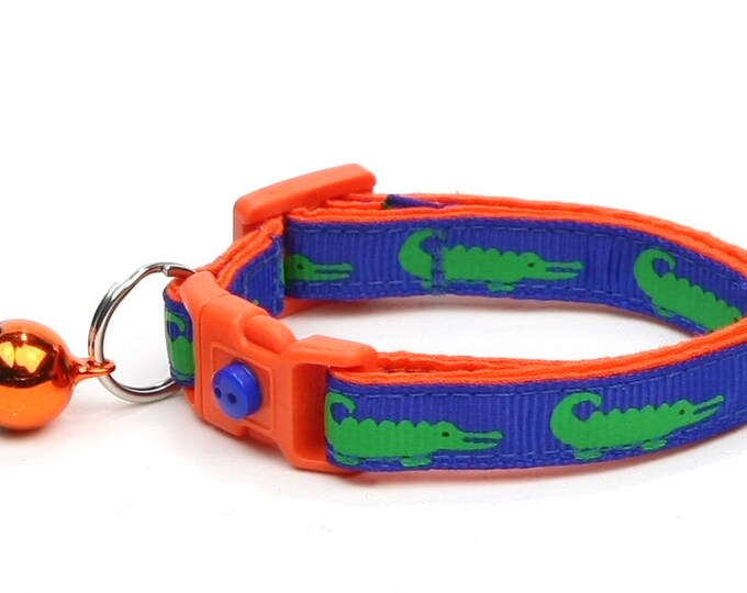 Alligator Cat Collar - Alligators on Blue over Orange - Small Cat / Kitten Size or Large Size B72D148