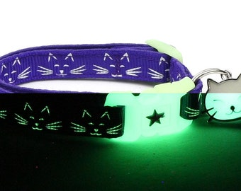 Glow in the Dark Cat Collar - Glowing Cat Faces on Purple - Breakaway Cat Collar - Kitten or Large size