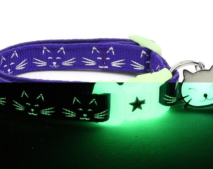 Glow in the Dark Cat Collar - Glowing Cat Faces on Purple - Breakaway Cat Collar - Kitten or Large size