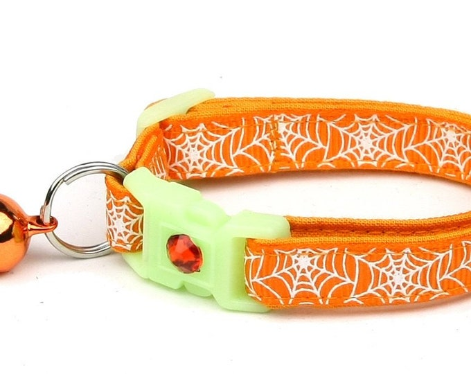 Spider Cat Collar - Glowing Spiderwebs on Orange - Small Cat / Kitten or Large Cat Collar - Glow in the Dark