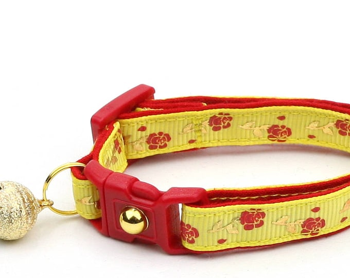 Floral Cat Collar - Red Roses and Gold Stems on Yellow - Small Cat / Kitten Size or Large Size B22D55