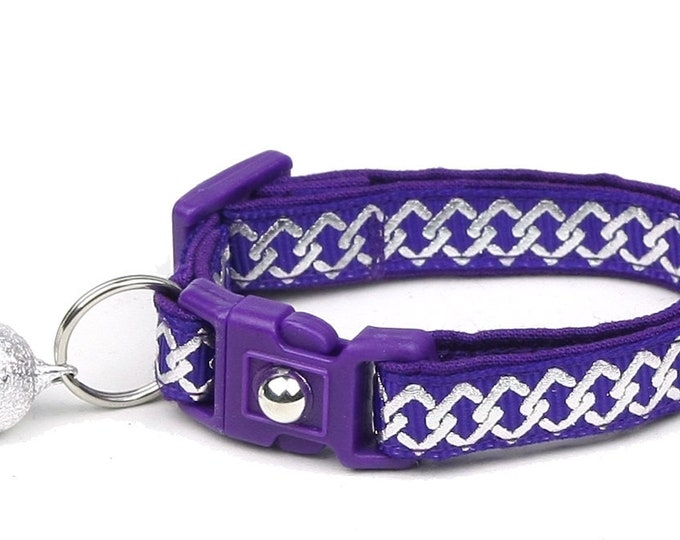 Celtic Knot Cat Collar - Silver Knots on Purple - Small Cat / Kitten or Large Cat Collar