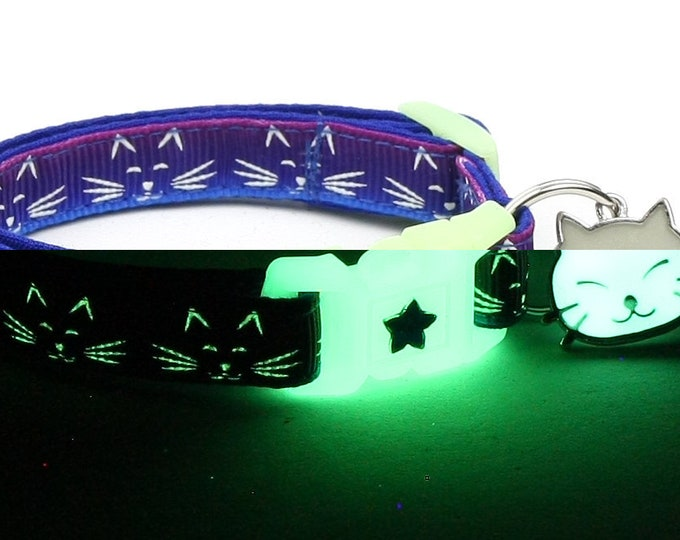 Glow in the Dark Cat Collar - Glowing Cat Faces on Purple and Blue - Breakaway Cat Collar - Kitten or Large size