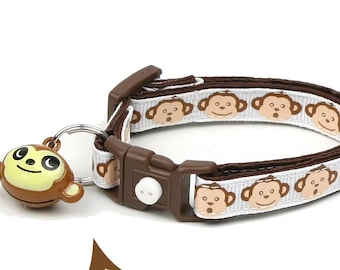 Monkey Cat Collar - Monkey Faces on White - Small Cat / Kitten Size or Large Size B71D133