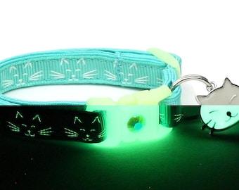 Glow in the Dark Cat Collar - Glowing Cat Faces on Aqua - Breakaway Cat Collar - Kitten or Large size B42D186