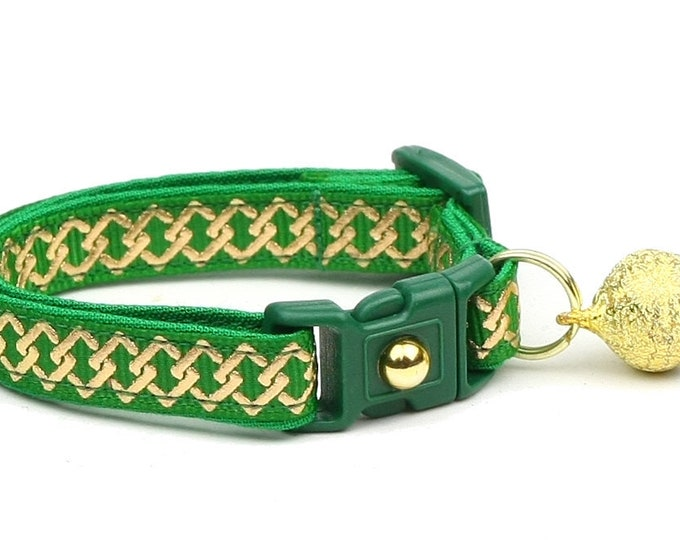 Celtic Knot Cat Collar - Gold Knots on Green - Small Cat / Kitten or Large Cat Collar B5