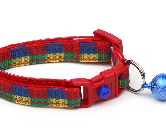 Toy Cat Collar - Colorful Building Blocks - Kitten or Large Size