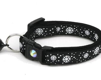 Snowflake Cat Collar -Snow Flurries on Black - Breakaway Cat Collar - Kitten or Large Size